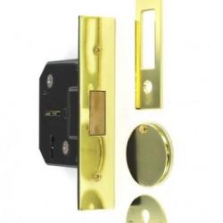 S1814 3 lever deadbolt, brass plated, 63mm, 1 pc.