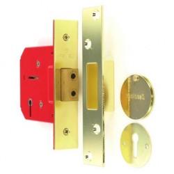 S1804 5 lever deadbolt, brass plated, 63mm, 1 pc.